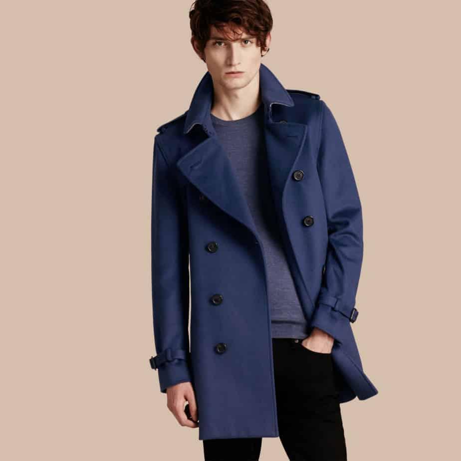 Manteaux homme hiver 2021: manteau bleu en cachemire