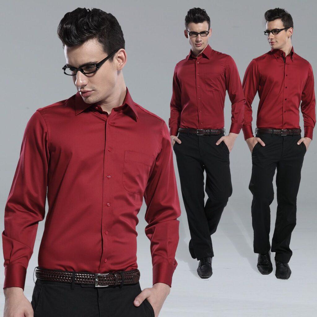 Chemises élégantes rouges et roses